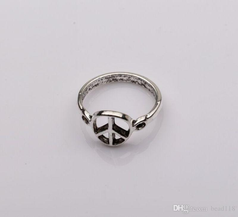 Ring, Antiqued Silver Peace mark Patternszinc-based alloy,10mm wide , Diameter 21mm, Sold pkg of mm6