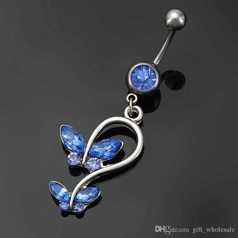 Red Blue Crystal Butterfly Style Navel Ring Belly Button Body Piercing Jewelry for choices