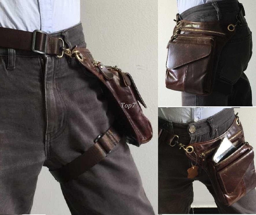 Men Outdoor Genuine Leather Leg Bags Waist Pack Bag Men