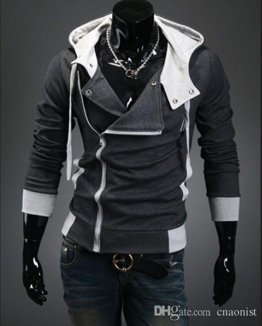 Hot Sale 2015 New Men's Hoodies Diagonal Zipper Design Fashion Casual Patchwork Cotton Blend Sprots Hoodie Plus Size 4XL Cardigans