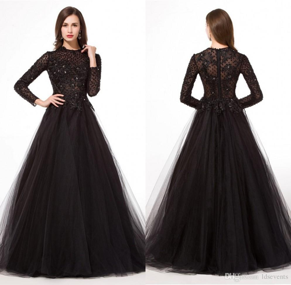 Muslim Evening Dresses Long Sleeve Beaded Crystals Black Color Tulle ...