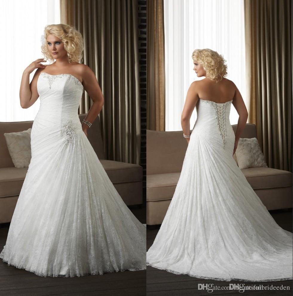 Lace Plus Size Corset Wedding Dresses Beaded Strapless Mermaid Church  Bridal Gowns Court Train Cheap Custom Made Vestido De Noiva