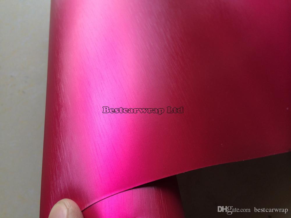 Sıcak Pembe Krom Fırçalanmış Çelik Vinil Sarar hava bırakmalı Krom fırçalanmış Alümiyum Etiket Filmi Araba Tuning Sarma: 1.52 * 20M / Rulo 5x66ft
