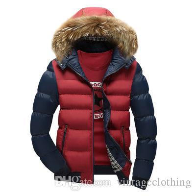 Gola De Pele dos homens Casaco Moda Inverno Zipper Grosso Patchwork Blusão Outwear Jaqueta De Algodão Quente Casaco Dos Homens Ao Ar Livre Jaqueta Longa