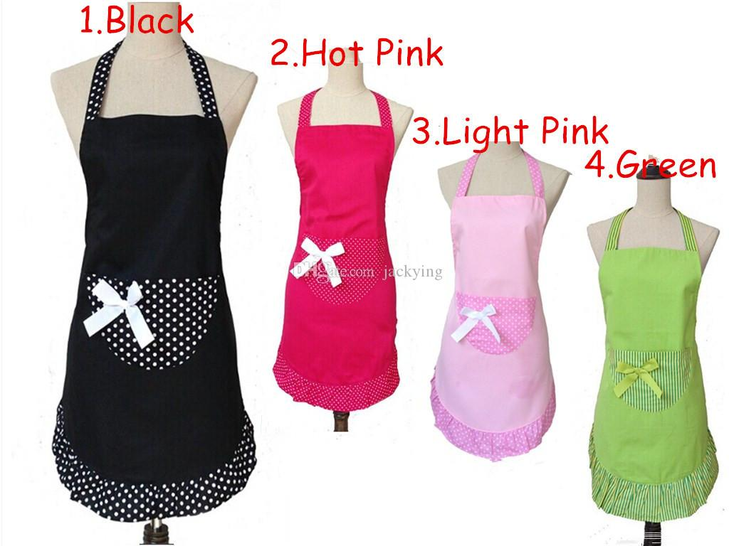Korean Household Cleaning Kitchen Apron Cooking Lady Princess Cotton Black  Polka Dot Ruffled Nail Salon Working Wear Christmas Aprons Waitress Aprons  From ...