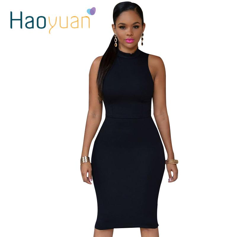 c03a82a43 S-4XL 2017 Plus Size Mulheres Vestidos de Festa de Gola Alta Sexy Vestido  Clube Bodycon Pacote Hip Preto Vermelho Branco Rosa Amarelo Midi Vestido  q1110