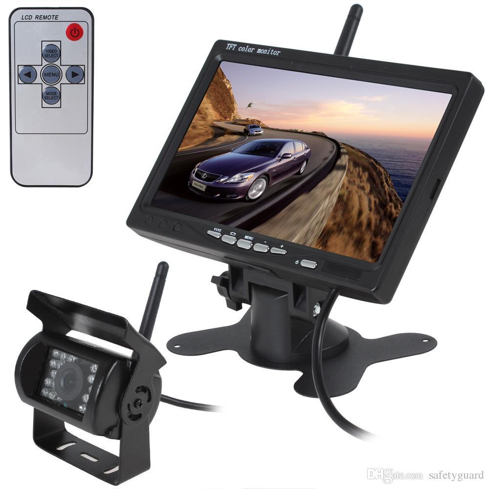 자동차 주차 100M 2.4 G 무선 후면보기 카메라 120도 백업 카메라 + 7 인치 800 * 480 TFT LCD 미니 자동차 Rearview 모니터