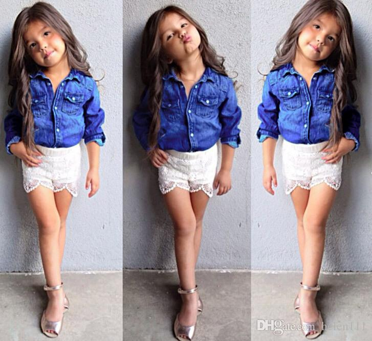 2018 2015 Spring Little Girls Outfits Set Hot Sale Blue Cotton Long Sleeve Denim Shirt+White ...
