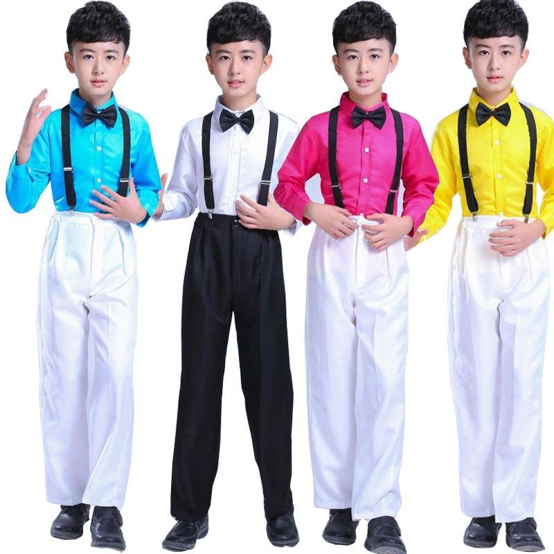 67316d21c 2019 Boys Long Sleeve Ballroom Jazz Modern Clothes Hip Hop Dance ...