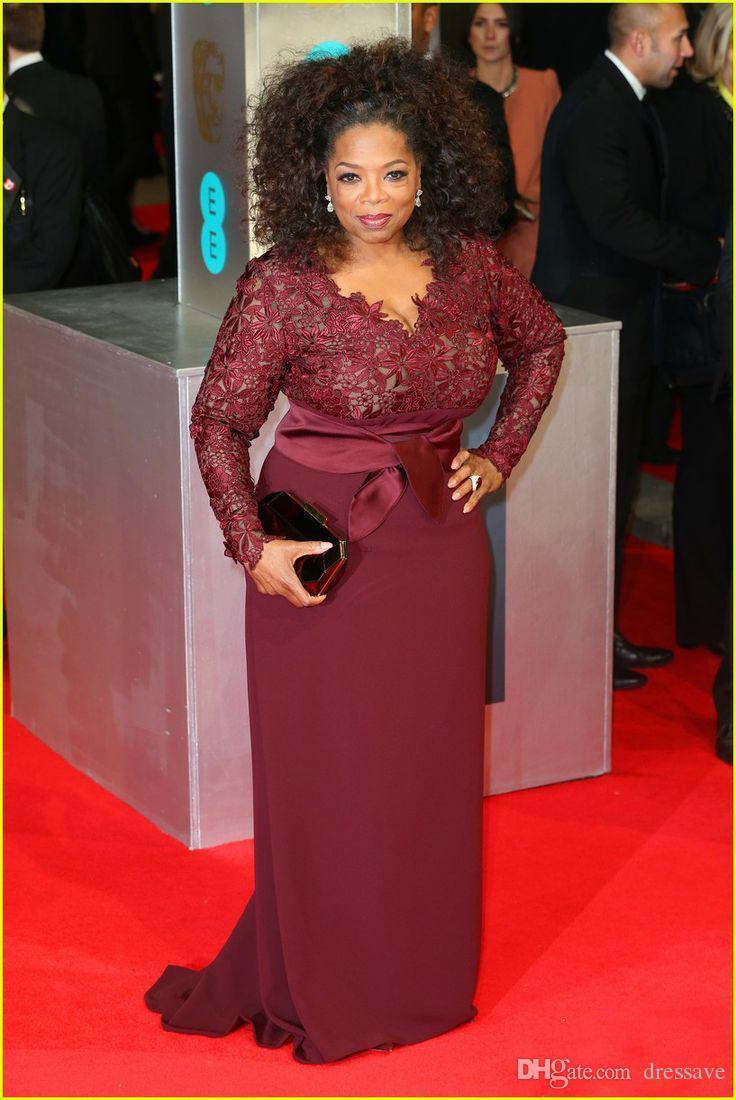 Oprah Winfrey Burgund Long Sleeves Sexy Abendkleider V-Ausschnitt Sheer Spitze Mantel Plus Size Celebrity Prom Red Carpet Kleider