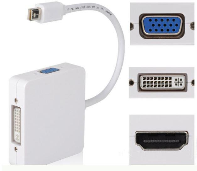3 in 1 Mini DP DisplayPort To VGA HDMI DVI Cable Adapter Converter for Apple MacBook Pro Air mini iMac