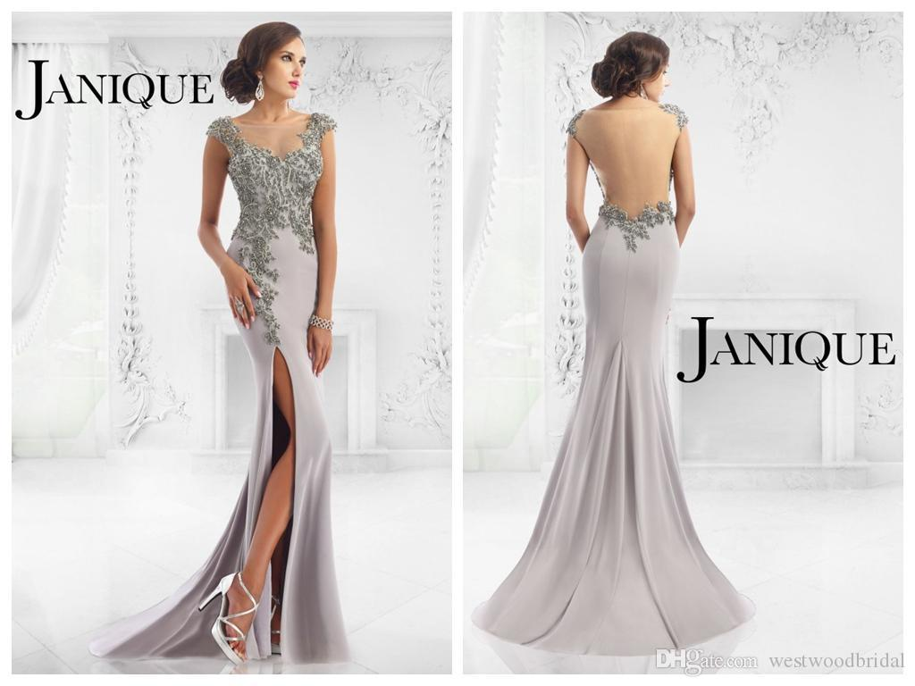 2018 Mermaid Evening Dresses Janique Prom Dresses Grey Chiffon ...