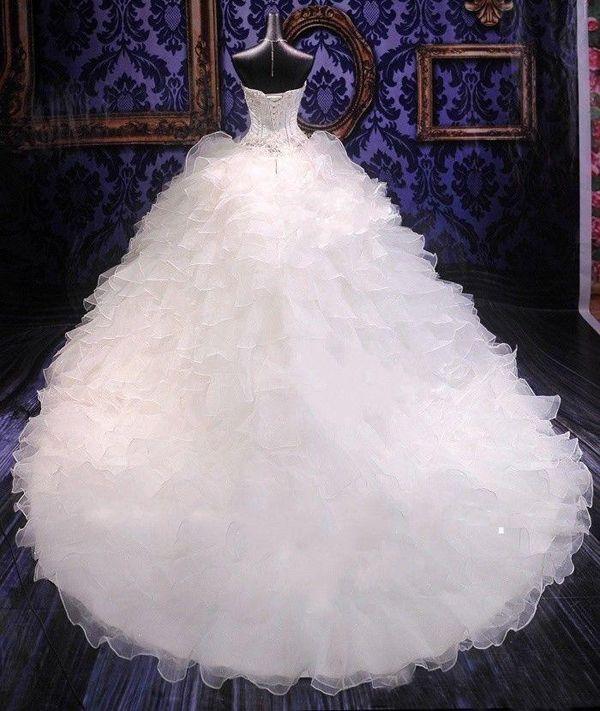 Свадебные платья Дешевые свадебные платья Принцесса Милая Корсет Органгза Собор Charged Charge Ball Art Prime Образцы Платье с бисером
