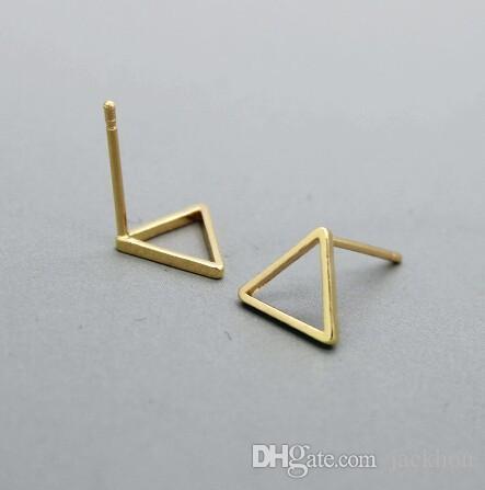 10 пара-S015 золото серебро крошечные полые треугольник серьги открытой линии треугольник серьги геометрические ювелирные изделия для женщин