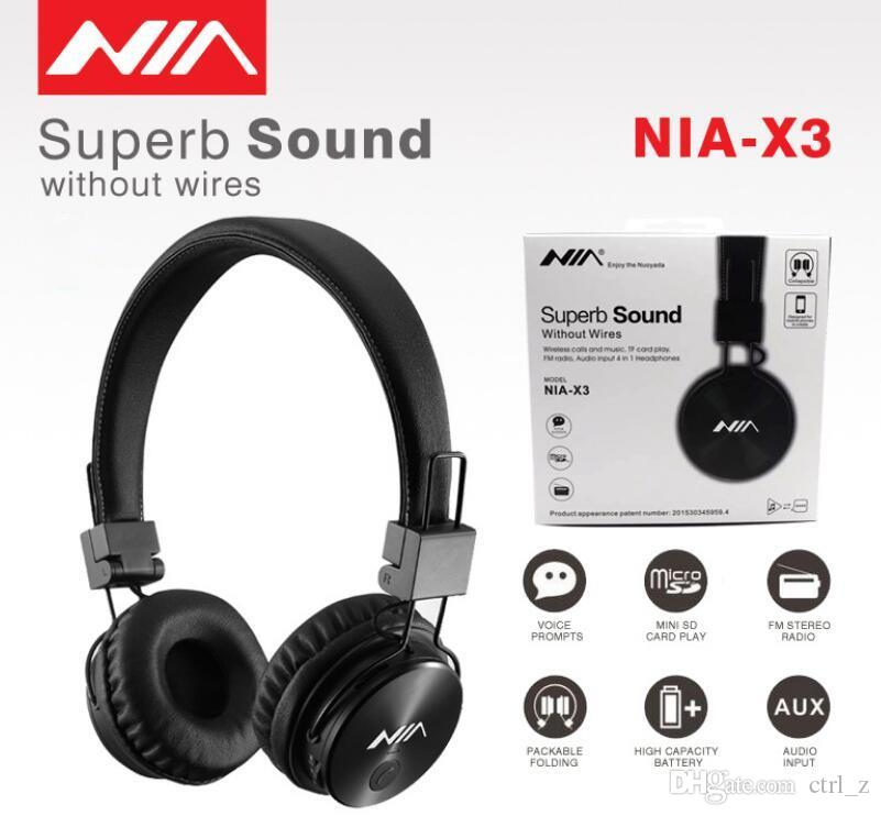 6491f55454e Original NIA X3 Wireless Stereo Bluetooth Headphones Foldable Sport Headsets  With Mic Support TF Card FM Radio NIA X3 Wireless Earphones Wireless  Bluetooth ...