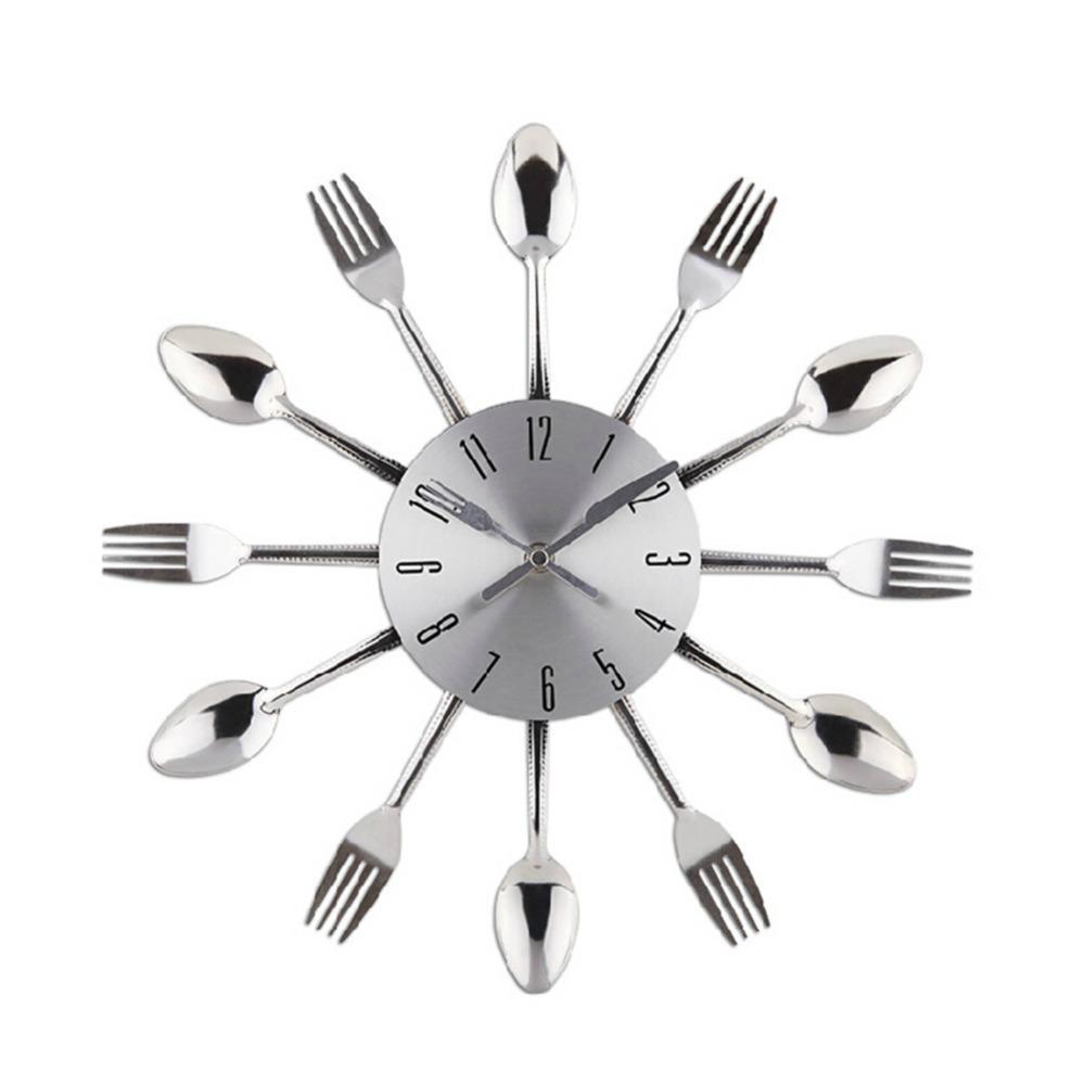 Fashion Watch Wall Clock Home Decor Modern Design Silver Kitchen ...