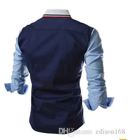 새로운 패션 남자 슬림 코튼 긴 소매 분할 조인트 컬러 셔츠 맞는 세련된 드레스 셔츠 2 색 크기 M-2XL CS32