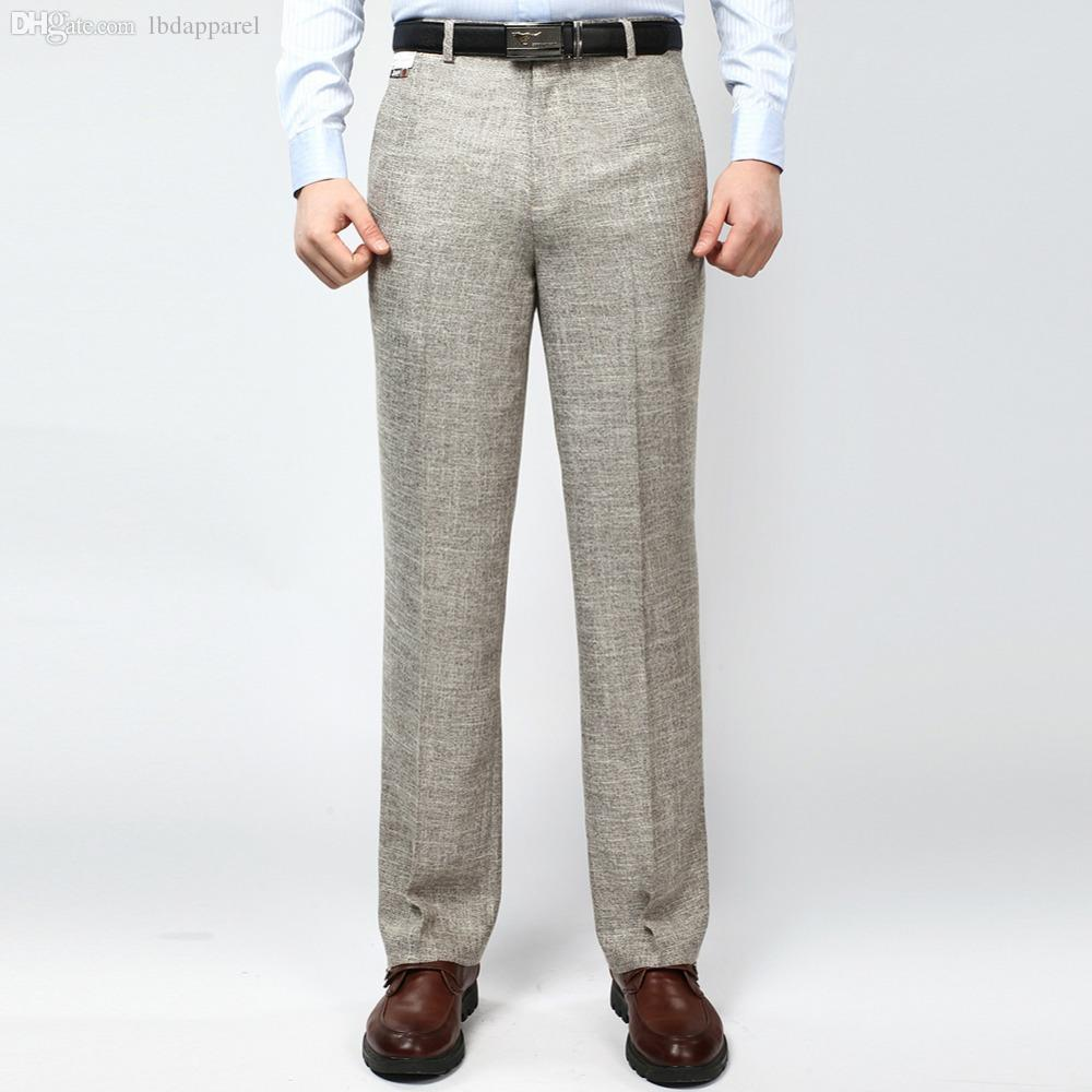 ec3a46b2cce 2019 Wholesale Men S Business Casual Thin Suit Pants Linen Summer Style  Solid Straight Work Pant For Man Classic Dress Pants Anti Wrinkle 42 From  Longmian