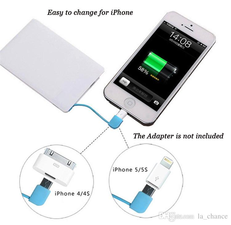 2500mah Ultra Thin Credit Card Power Bank USB Promotion PowerBank with Built In USB Cable Backup Emergency Super Light Small