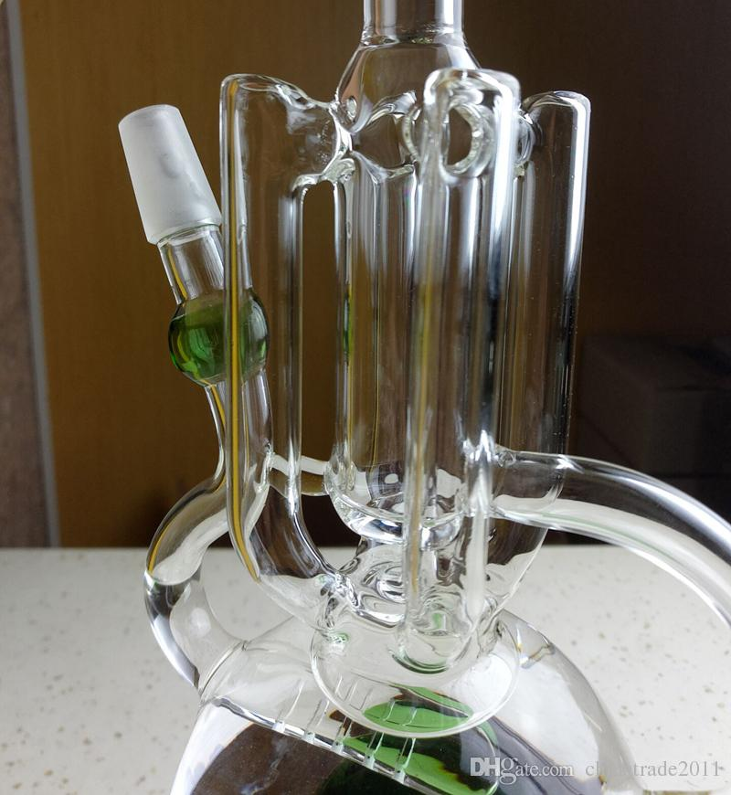 "Newest Glass Bong Oil Rig Recycler Bubbler Water Pipes Inline Grid Perc Oval Base Beaker Bongs 9.5"" inch Tall Hookah Dab Pipes"