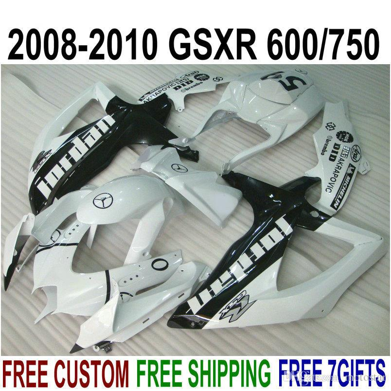 High quality ABS fairing kit for SUZUKI GSXR750 GSXR600 2008-2010 K8 K9 white black fairings set GSXR600/750 08 09 10 FA3