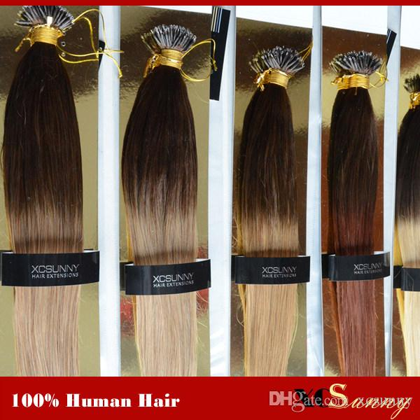 Xcsunny Nano Loop Virgin Hair Ombre Two Tone Dip Dye 18 20 1gs 100g
