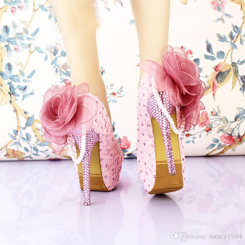Handmade Pink Lace Wedding Shoes Women Pumps Bridal Dress Prom Shoes Party Heels Beautiful Appliqued Bridesmaid Shoes