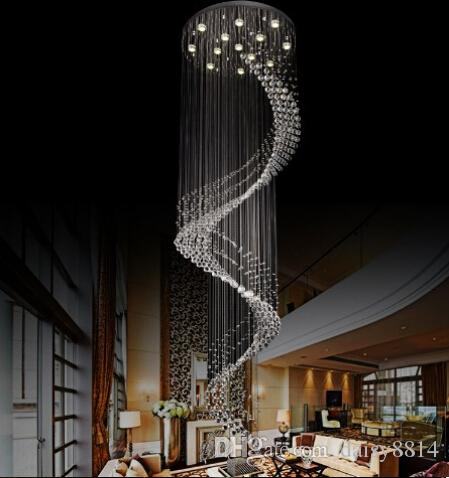New Spiral Design Large Crystal Chandeliers Modern Lighting Fixtures Lustre  De Cristal Led Light Hanging Lamp Stairway Chandelier Tree Branch Chandelier  ...