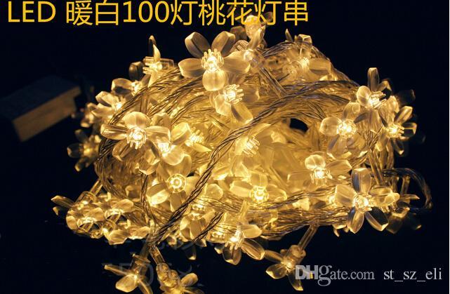 10 قطع 10 متر 100 أضواء led كريستال زهر الكرز حبل سلسلة أضواء عيد الميلاد جارلاند مع المكونات لحديقة الزفاف luminaria ديكور