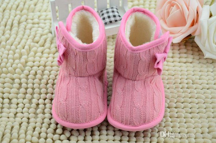 Printemps Hiver New Toddler Fleece Bottes De Neige Chaussures De Bébé Infant Tricoté Bowknot Chaussures De Crèche Bébé Chaussures Warmer Avec arc choisir librement