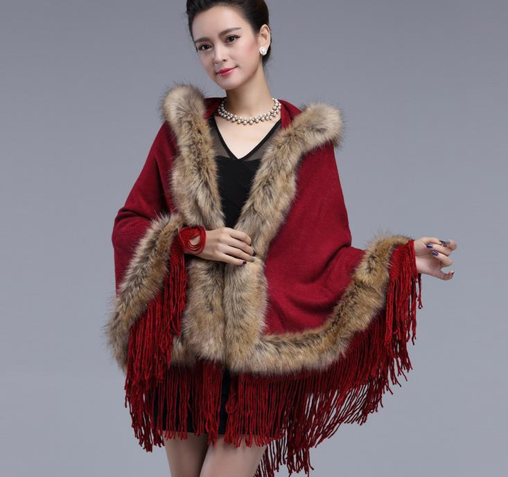 New Autumn Winter Women's Cloak Pashmina Faux Fur Jacquard Hooded Cape Tassel Poncho Cardigans Knitwear Lady Shawl Stole Wraps Sweater Coat