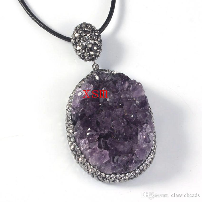 2016 New Fashion, Natural Geode Amethyst Druzy With Rhinestone Crystal Pendant Charm Pendant Jewelry For Women