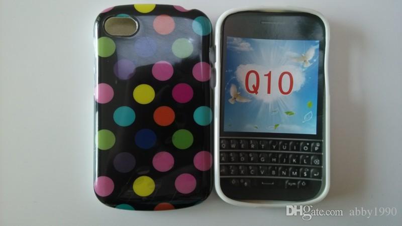Groothandel Hot Polka Dots Soft TPU Gel Cover Telefoon Case voor BlackBerry Q10 Gratis verzending