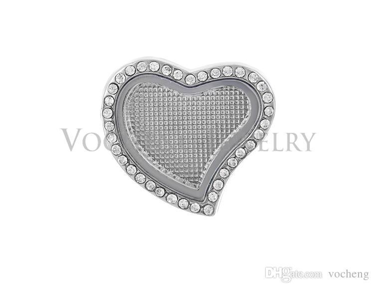 Noosa Zencefil Yapış Charms 18mm Kalp Tarzı Düğme Yüzer Locket Ginger Snap Vn-905