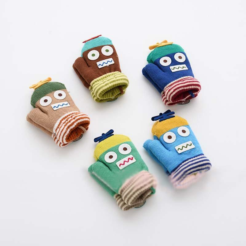 Cartoon Glove Mittens Child Gloves Knit Mittens Wool Gloves Children ...
