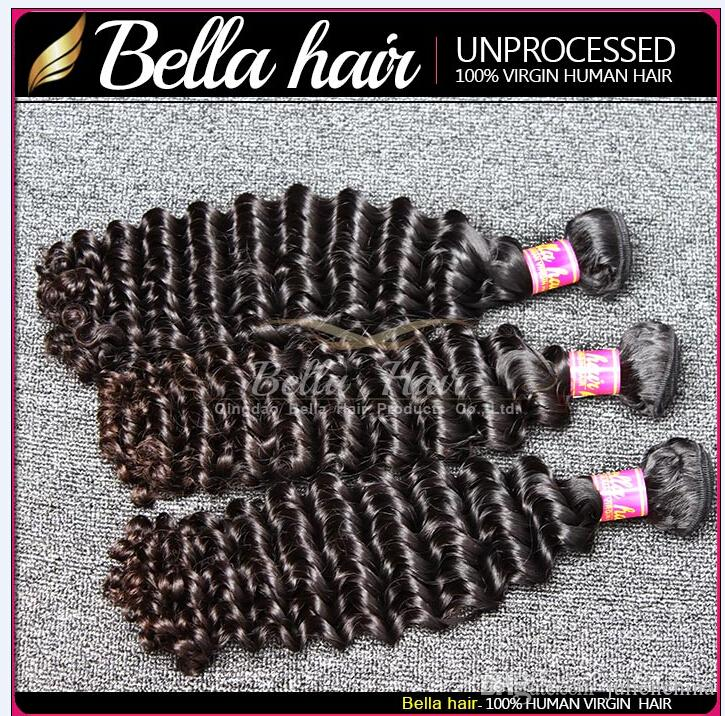 Bella Cabello 10 ~ 24 pulgadas de extensión pelo sin procesar humano de la Virgen del pelo indio natural del color de la onda profunda Julienchina 2 lotes de envío