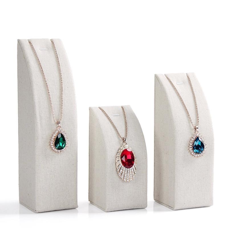 Linen Jewellery: High-Grade Linen Necklace Pendant Chain Display Shelf