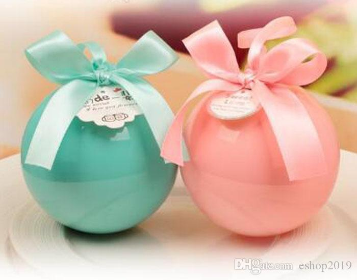 Clear Crystal Ball Candy Box Round Gift Boxes Ribbon Bowknot