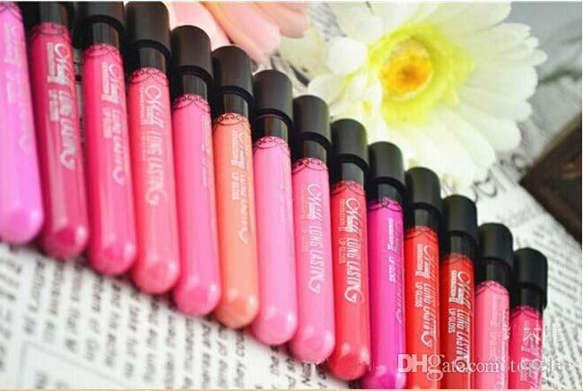 Alta calidad Impermeable Líquido Elegante Color diario Lápiz labial mate lápiz labial liso brillo labial Larga duración Dulce niña Maquillaje de labios gratis DHL