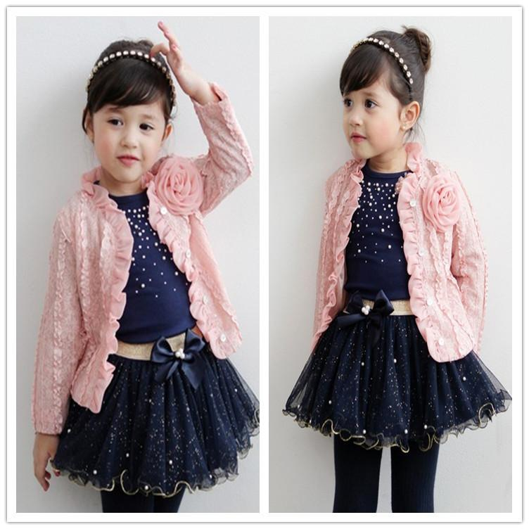 14dc397df9384d Children Girls Floral Tulle Sequins Bowknot Beads 3pcs Skirt Suit size   90-100-110-120-130  color pink + navy as photo  Material Cotton free ...