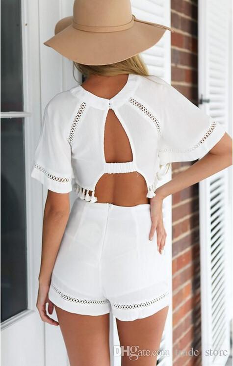 2016 أزياء المرأة الصيف فساتين بيضاء مصغرة السراويل قمم 2 قطعة مجموعة vestidos قصيرة الأكمام ضمادة bodycon نادي الحزب عارضة اللباس الملابس
