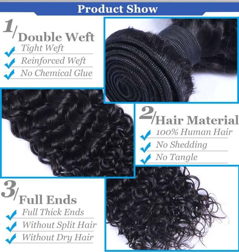 Bundles de cheveux humains Péruvien Indien Malaisien Cambodgien Brésilien Vierge Trame Droite Corps Lâche Eau Lâche Deep Curly Cheveux Humains pour Arican
