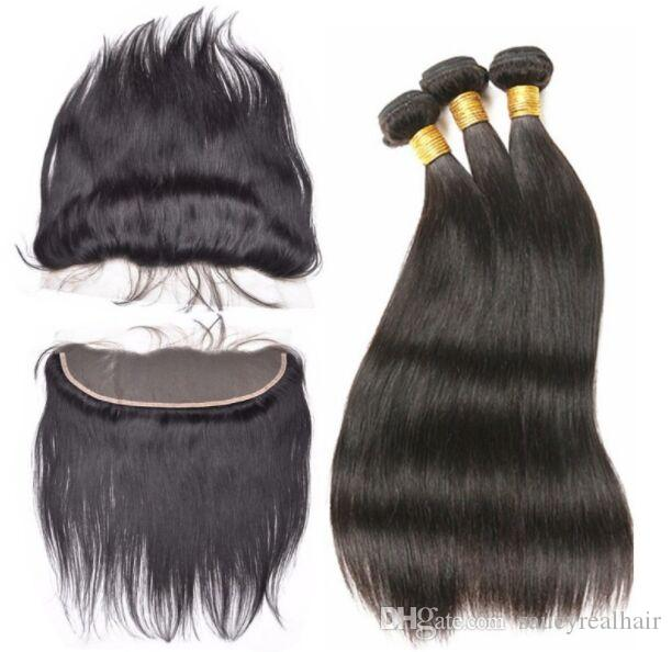 Grade 7A --100% Human hair 3Bundles with one frontal closure Natural Color Straight Hair weaving & 13*4 frontals, free dhl