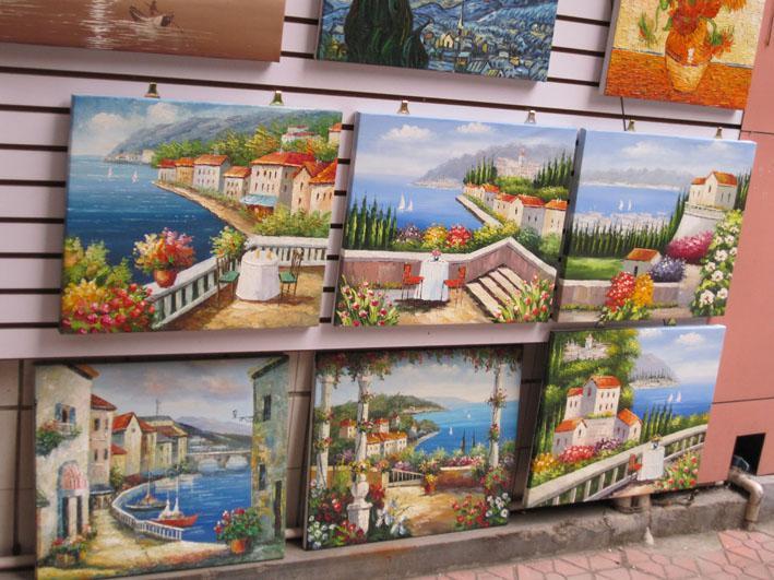 Dipinti a mano 5 pezzi dipinti a olio di arte della parete su tela fiori immagini per soggiorno come regalo unico rosso rosa spedizione gratuita F / 028