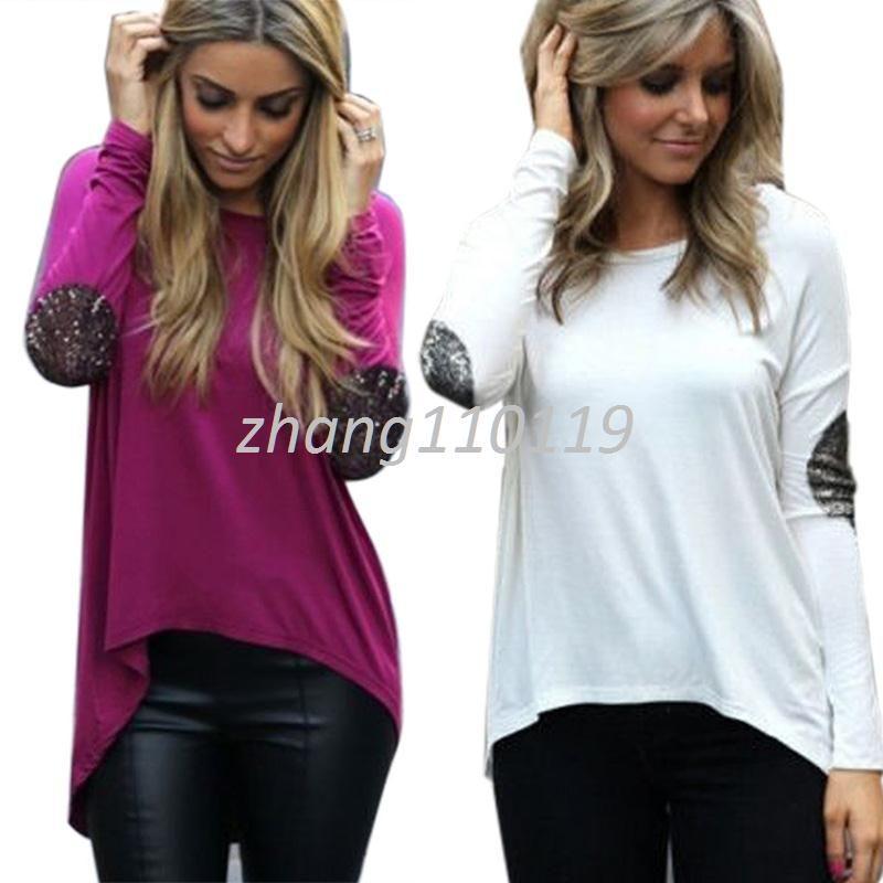 on sale d1598 00454 S-XXXL Frauen Bluse Glitter Patchwork Lose Weiße Herbst Damenmode Langarm  Casual Shirts Pullover Sweatshirt Tops