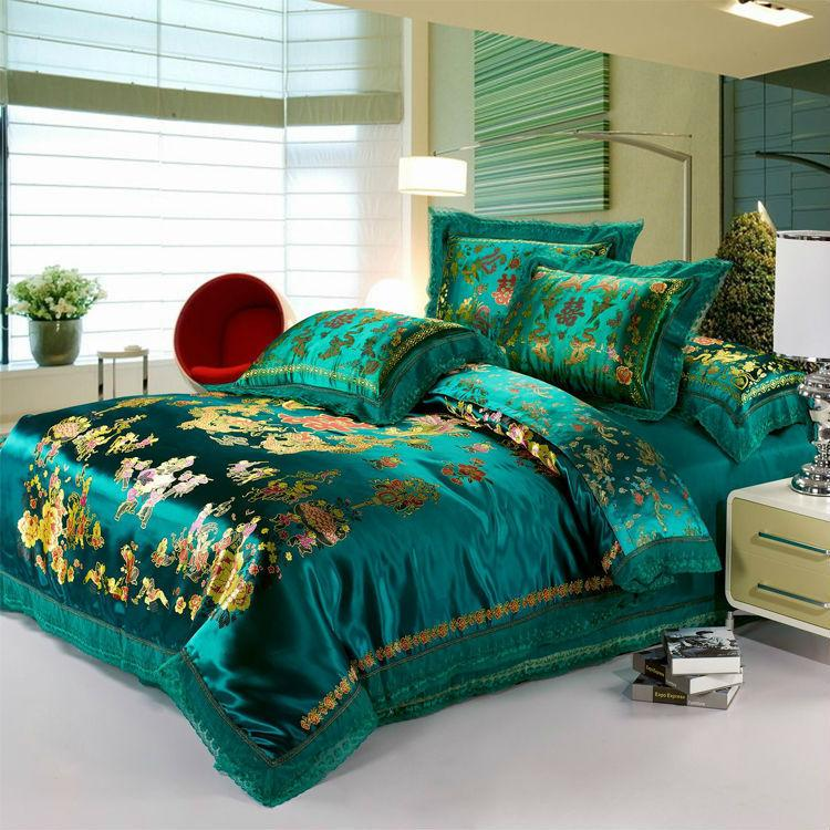Luxury Green Bedding Set Dragon And Phoenix Silk/Cotton Duvet ... : dragon quilt cover - Adamdwight.com