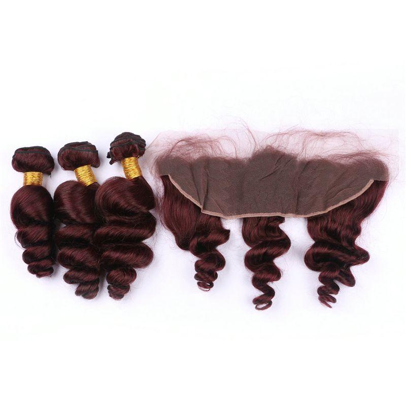 Pure # 99j Vin Rouge Bundles de Cheveux et Frontale Péruvienne Vague lâche Burgundy Armure de Cheveux Humains avec Dentelle Frontale Fermeture Pre Plumée