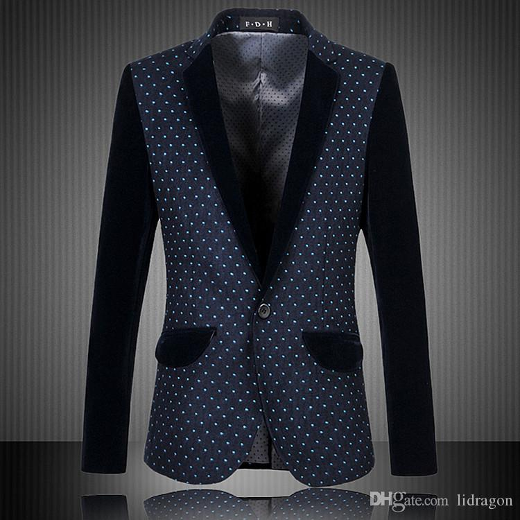 Best Excellent Quality Polk Dot Floral Blazer Men Classical Simple ...