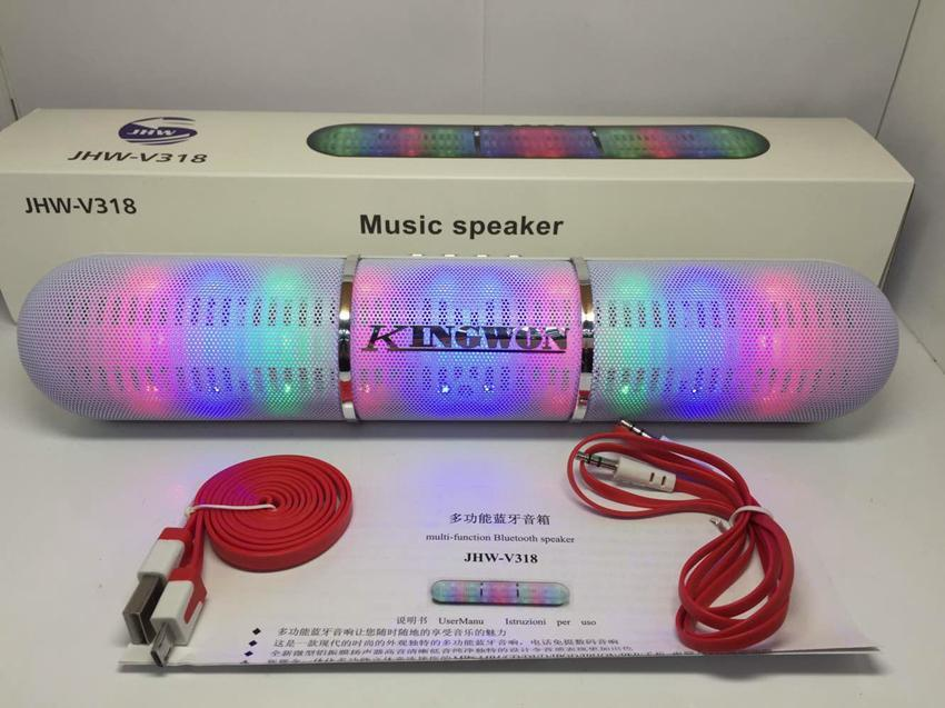 New fashion Pulse LED Flash Lighting Portable Bluetooth Speaker Bulit-in Mic Handsfree speakers Support FM USB TF Card JHW-V318