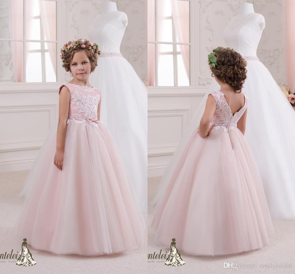 Lovely 2017 Blush Pink Flower Girl Dresses Lace A Line Floor Length